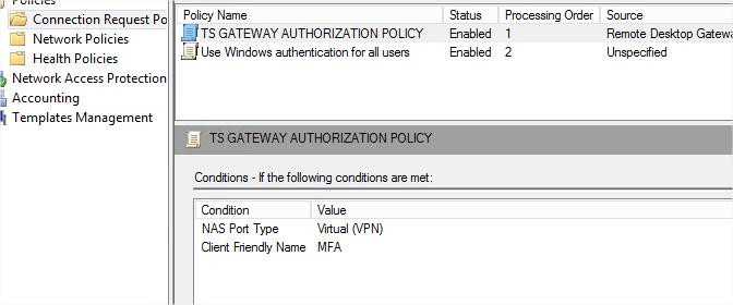 Configure Remote Desktop Gateway to use Multi-Factor