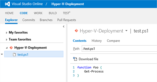 Powershell Source Control: GIT and Visual Studio Online
