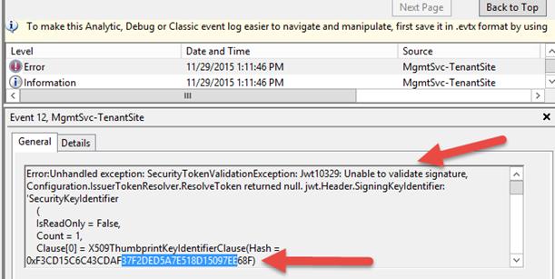 Error 500 Azure Pack tenant portal – Jwt10329 Error