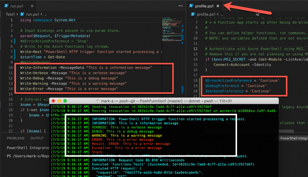 Azure Functions Logging in Powershell - markscholman com
